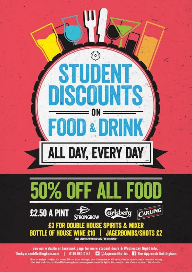 50% off all Food for STUDENTS + £2.50 per Pint