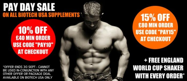 15% off £80 minimum order on all Biotech Products