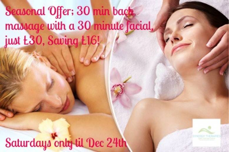 Christmas Winter Warmer 30 Minute Back Massage and 30 Minute Facial for Just £30