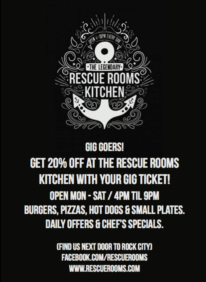 GIG GOERS GET 20% OFF at The Rescue Rooms Kitchen