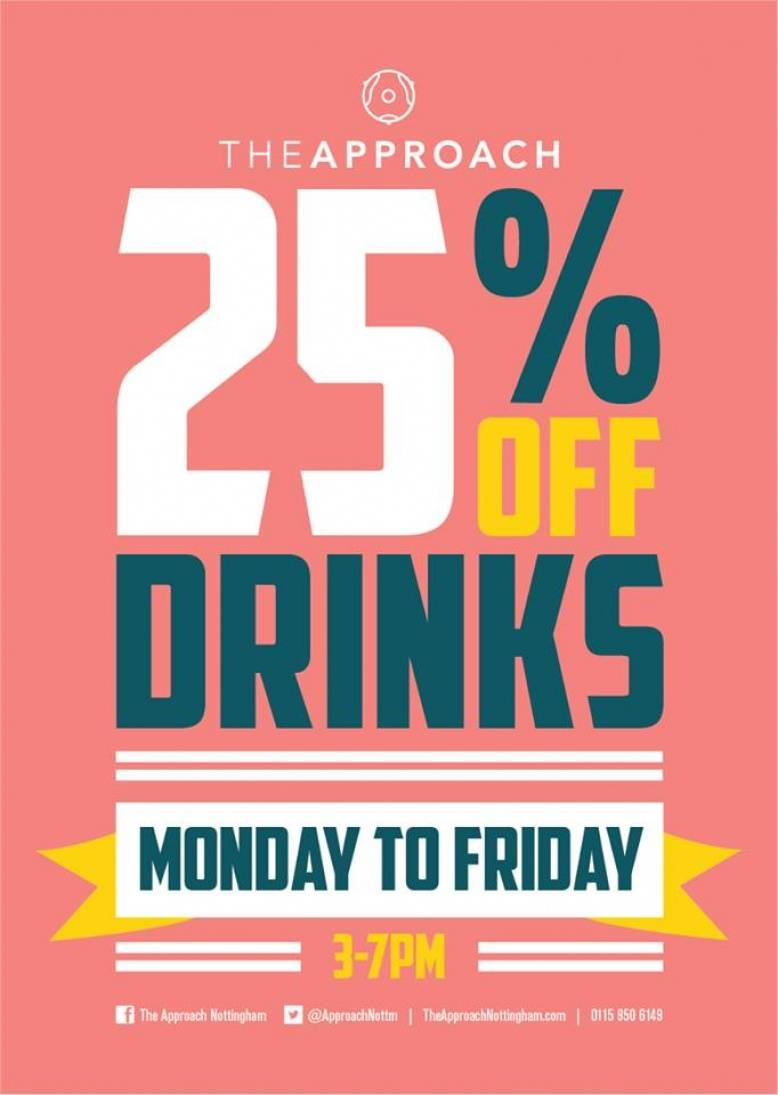 It's nearly the weekend! Come in after work and enjoy 25% off all drinks and 2-4-1 cocktails