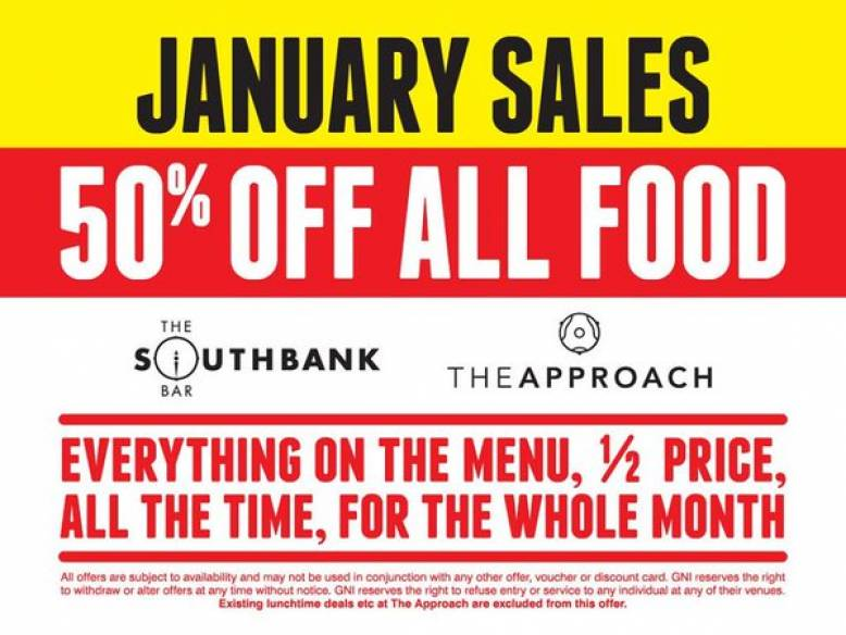 NOT LONG LEFT - 50% off Food - 25% off Drinks