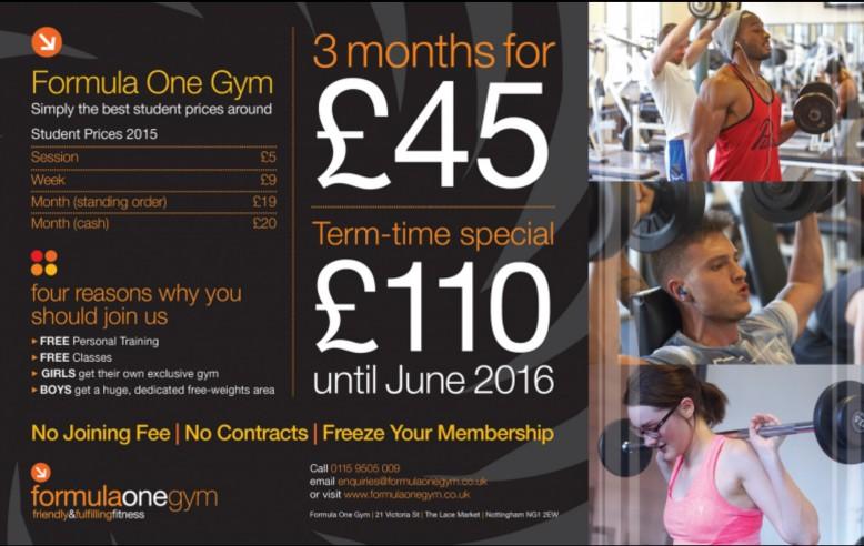 Formula One Gym - 3 months for £45