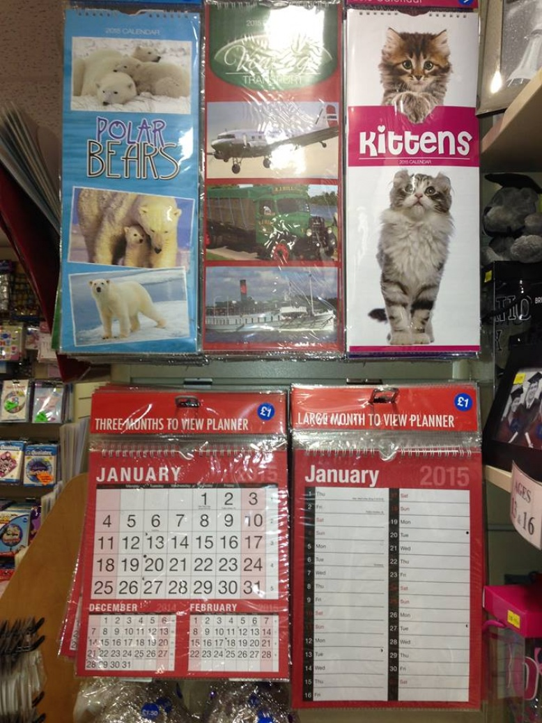 Calendars now in stock most priced at £1.00 each.